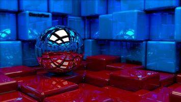 Фото бесплатно шар, стены, куб