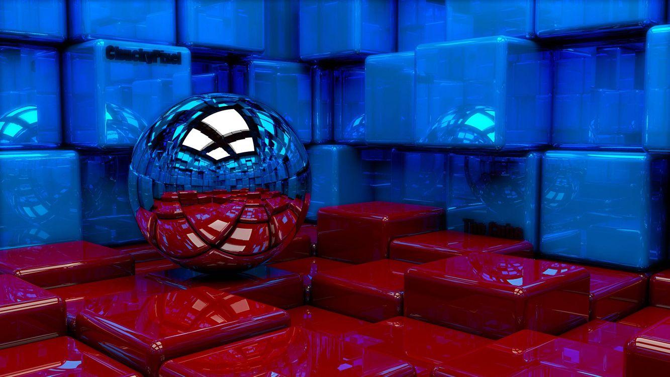 Фото бесплатно шар, стены, куб, красные, синие, 3d графика