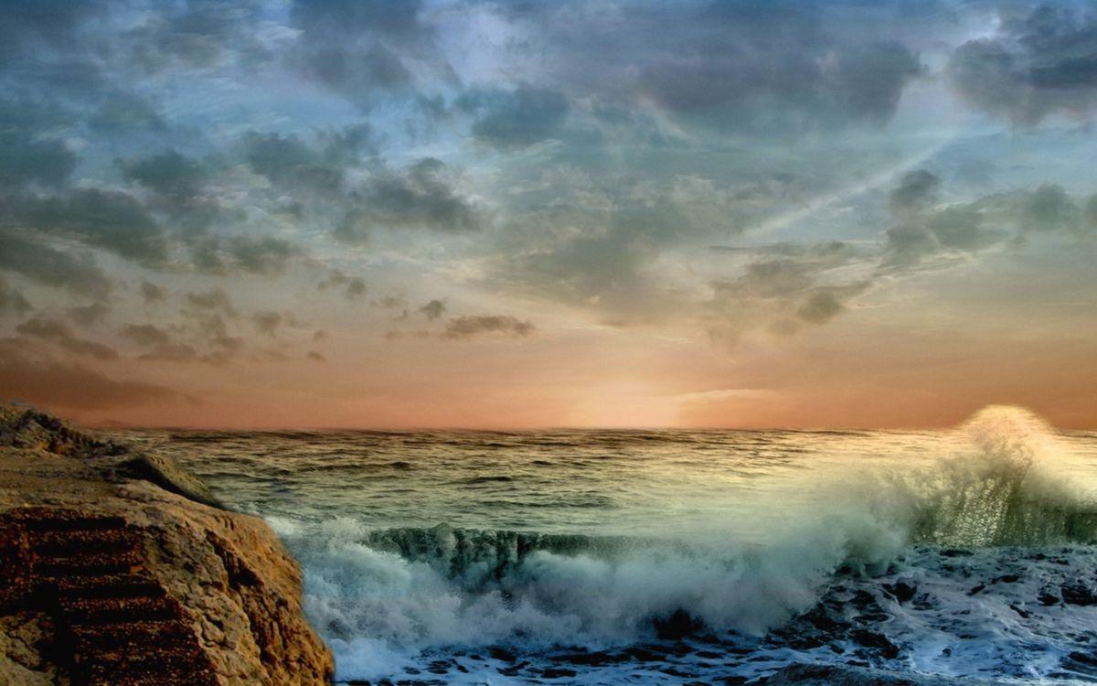 Фото бесплатно берег, камень, валун, море, волны, горизонт, небо, пейзажи