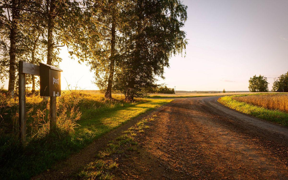 Фото бесплатно дорога, почтовый ящик, поля - на рабочий стол
