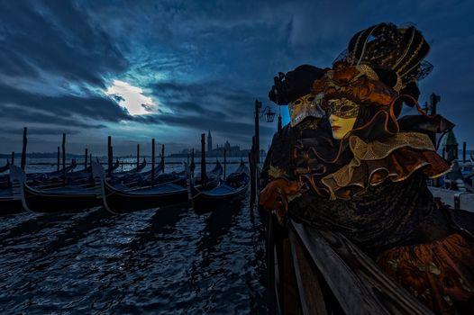 Фото бесплатно Венецианские маски, венецианский костюм, карнавал в венеции