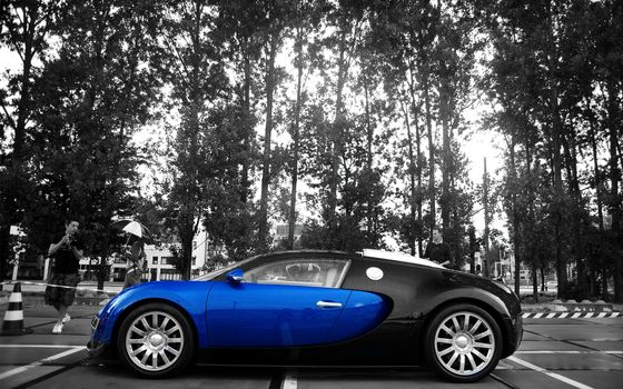 Фото бесплатно бугатти вейрон, черно-синяя, диски