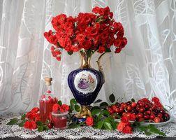 Бесплатные фото ваза,цветы,черешня,натюрморт