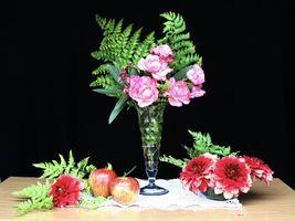 Бесплатные фото ваза,цветы,фрукты,натюрморт