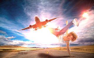 Обои дорога, самолёт, девушка, art