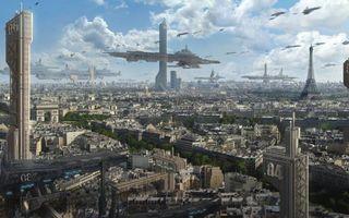 Бесплатные фото город будущего,Париж,эйфелева башня,небоскребы,дома,улицы,космические корабли