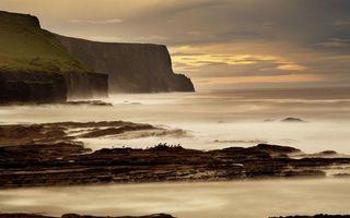 Заставки побережье, море, дымка, горизонт, небо, облака