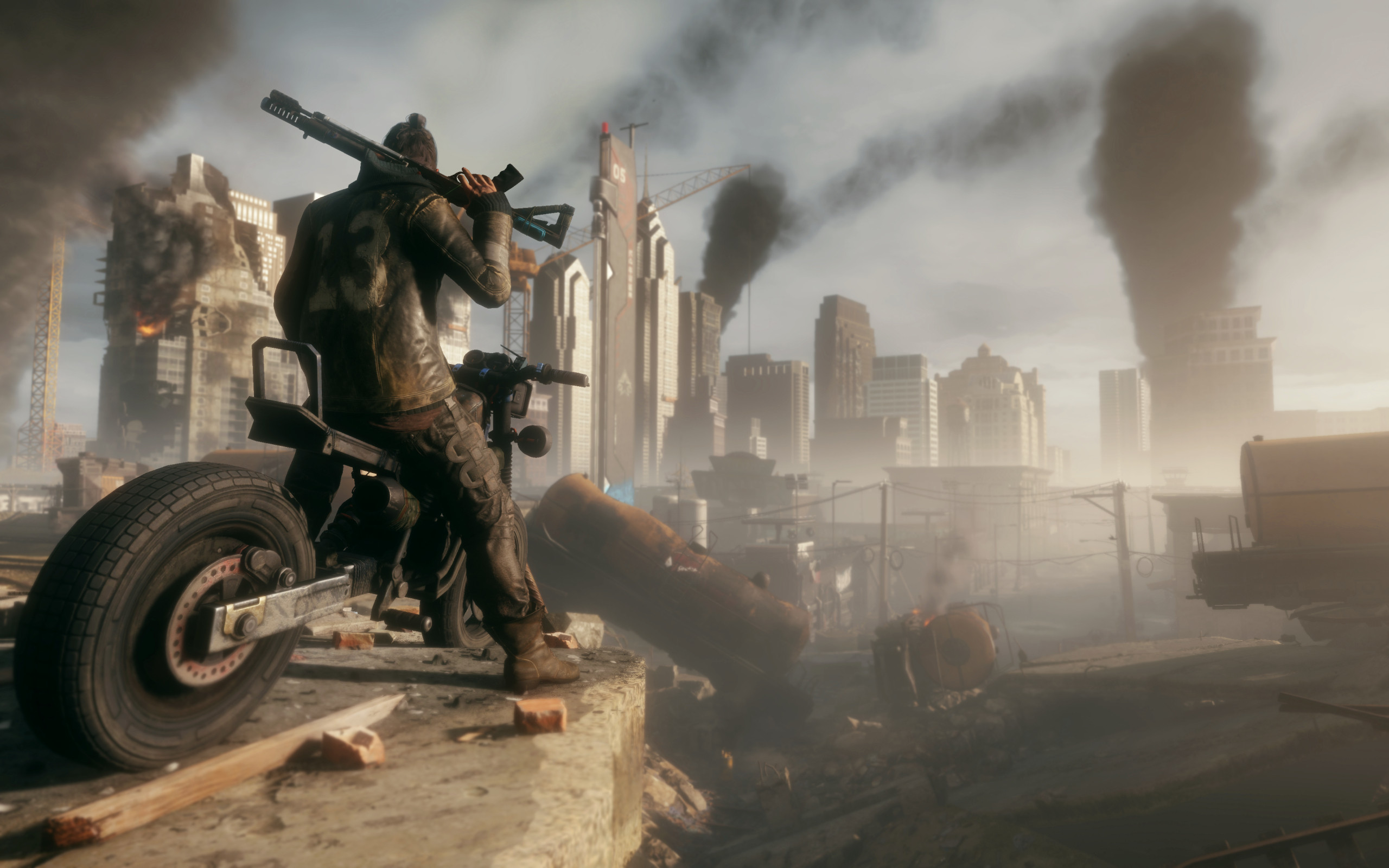 Обои Homefront: The Revolution, мотоцикл, байкер, город
