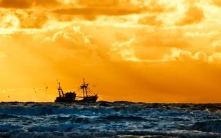 Photo free sky, orange, ship