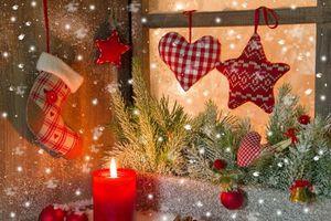 Заставки новый год, новогодние обои, украшения, Рождество, фон, дизайн, ёлочные игрушки, ёлочные ветки, свеча