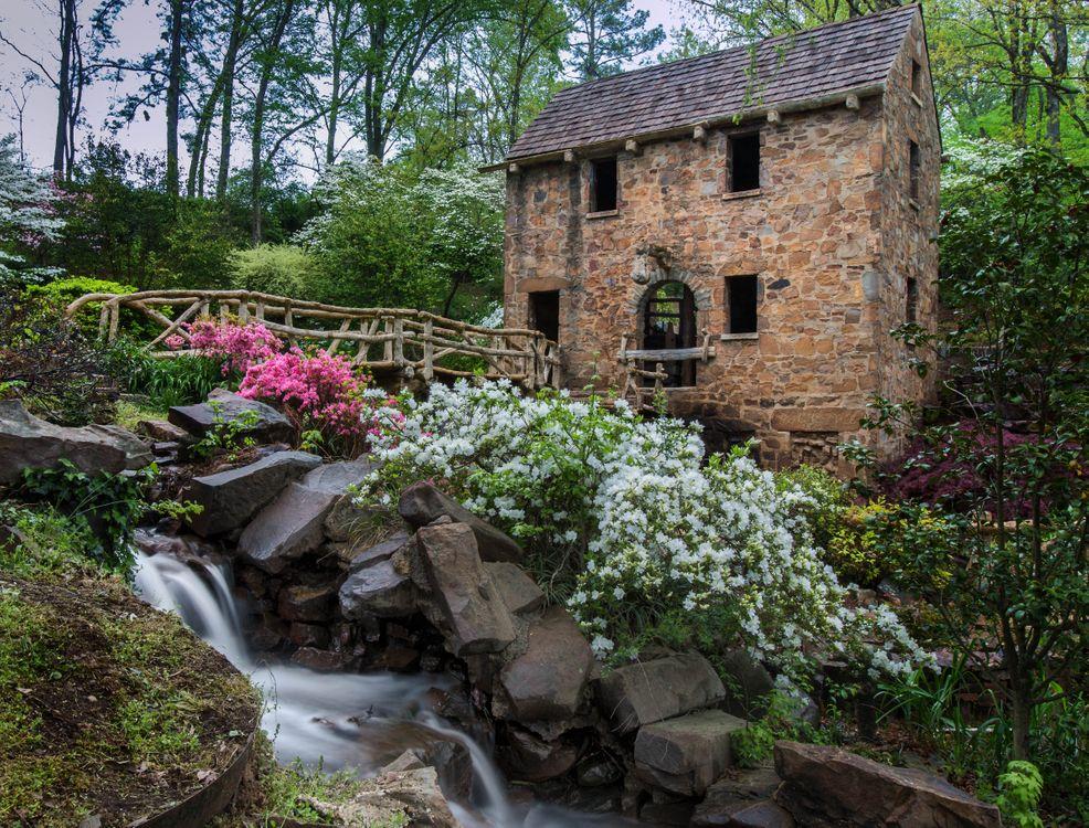 Фото бесплатно река, мельница, деревья, пейзаж, пейзажи
