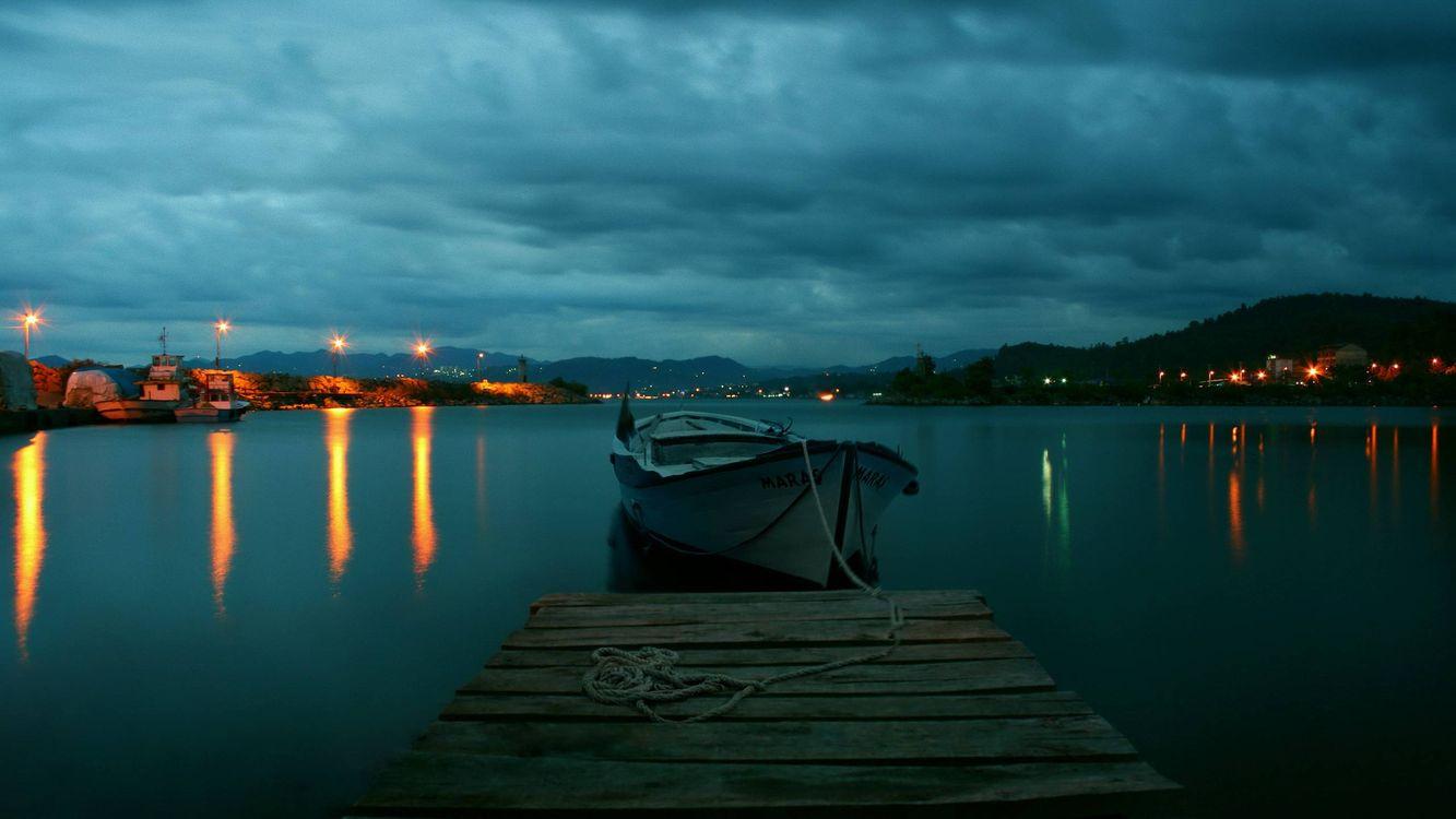 Фото бесплатно причал, мостик, лодка, ночь, пейзажи