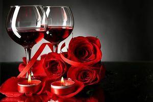 Фото бесплатно День Святого Валентина, бокалы, свечи