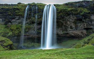 Бесплатные фото гора,обрыв,камни,водопад,трава