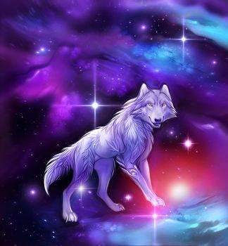 Заставки волк, вселенная, 3d