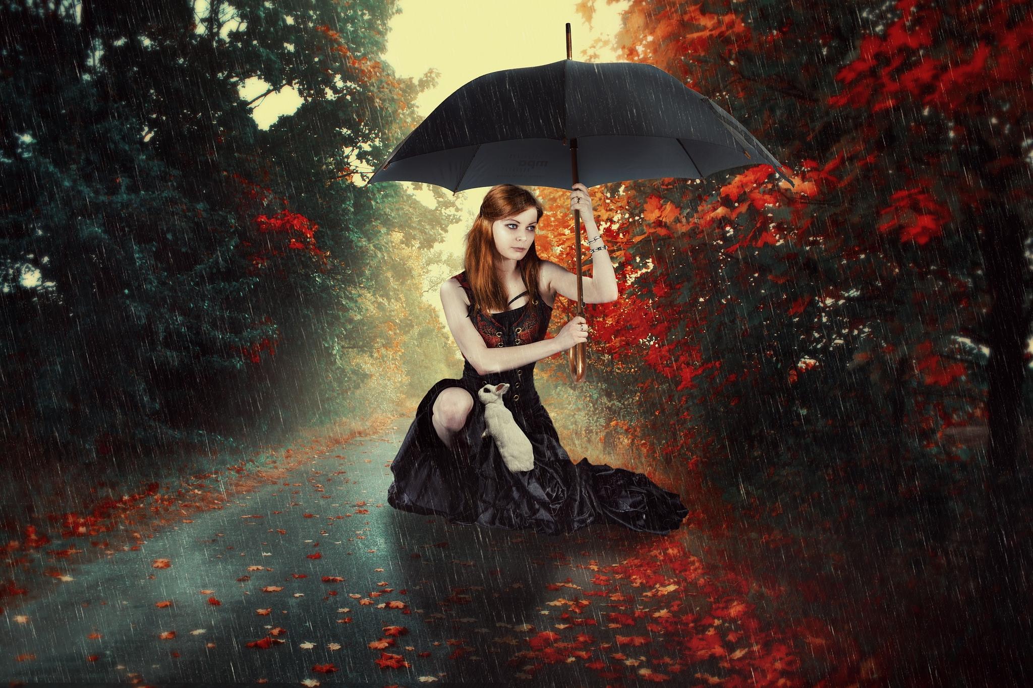 девушка под зонтом, девушка, осень