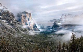 Бесплатные фото горы,скалы,деревья,снег,облака