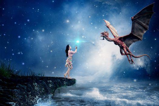море, девушка, дракон, сюрреализм, фантасмагория