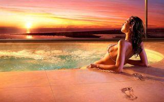 Фото бесплатно закат, море, девушка