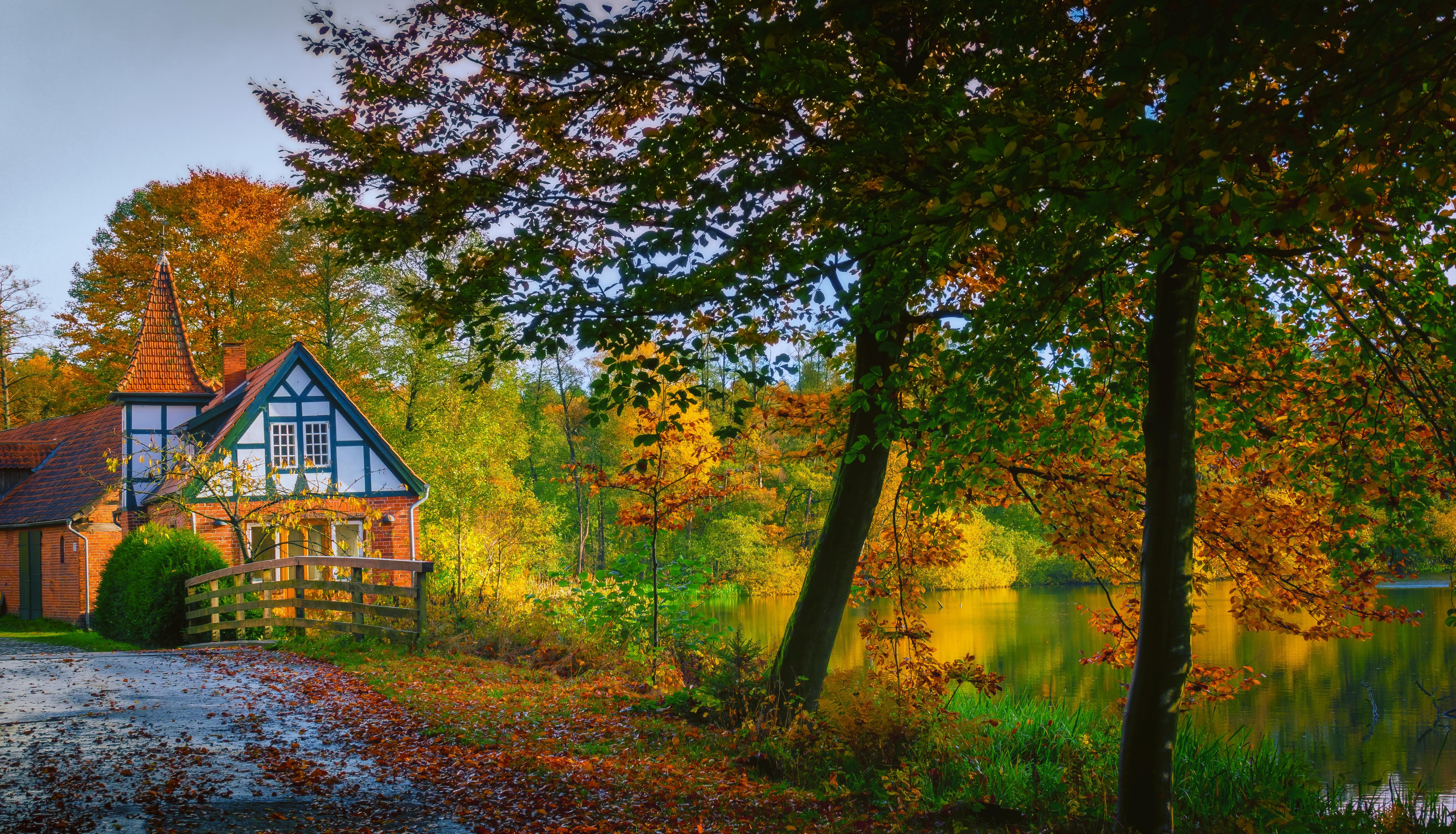 обои осень, водоём, озеро, дорога картинки фото