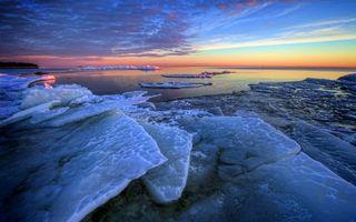 Заставки море,льдины,горизонт,небо,облака,закат