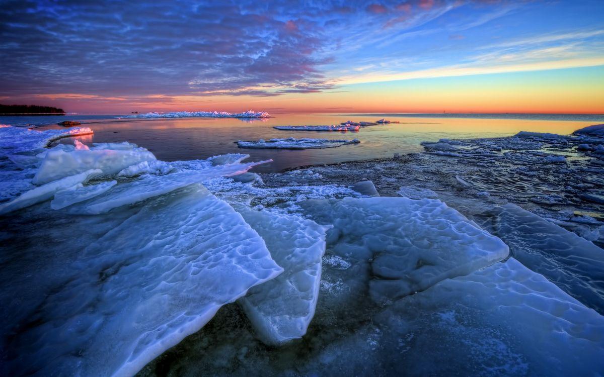 Фото бесплатно море, льдины, горизонт, небо, облака, закат, пейзажи - скачать на рабочий стол