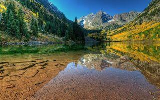 Бесплатные фото озеро,вода чистая,дно,отражение,горы,растительность,скалы