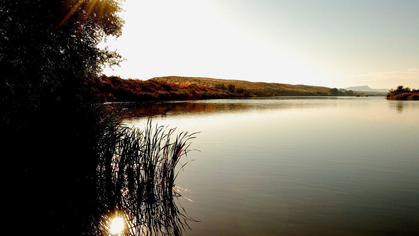 Обои берег, деревья, трава, холмы, река, небо на телефон | картинки природа