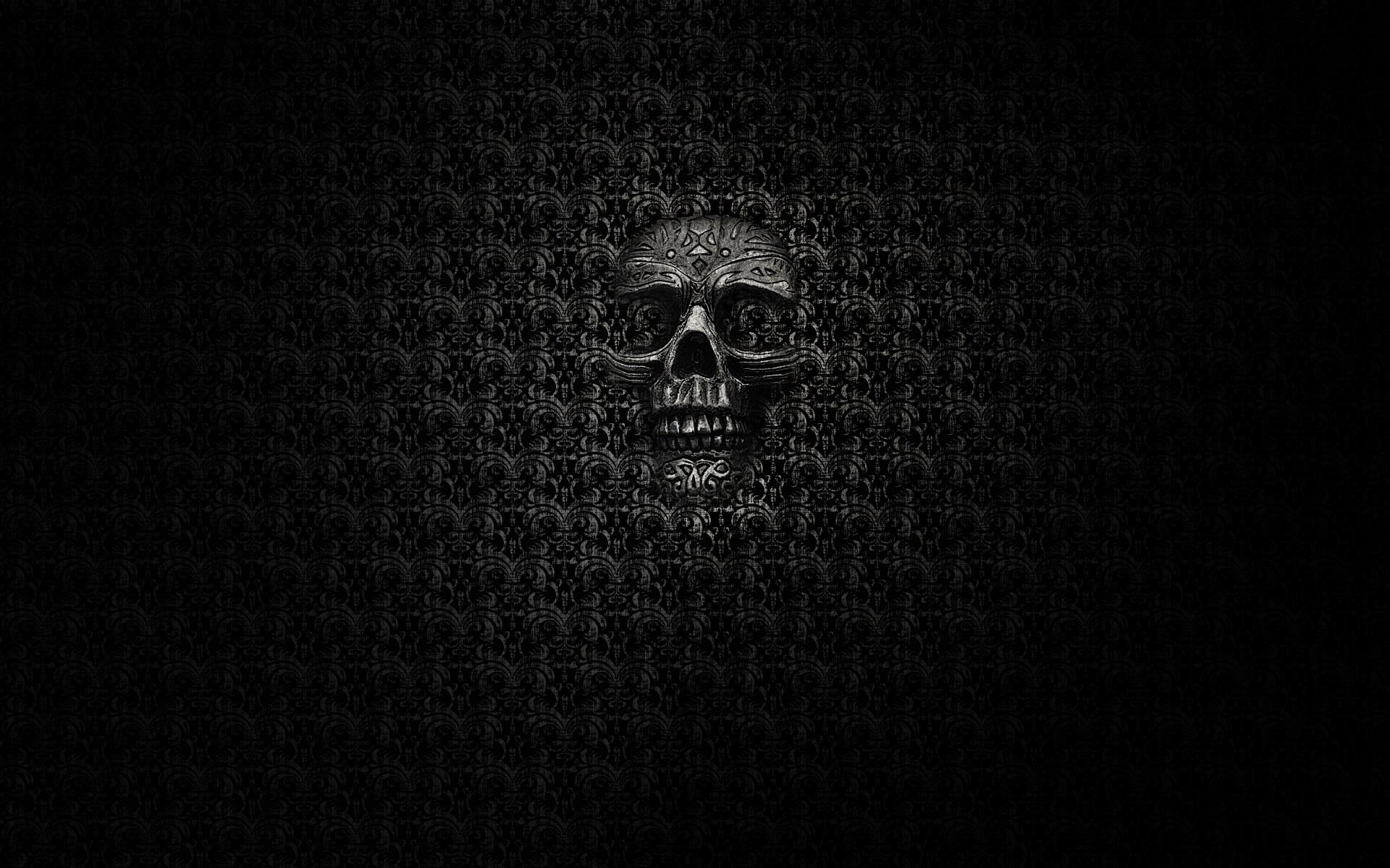 Обои череп, кость, зубы, фон черный