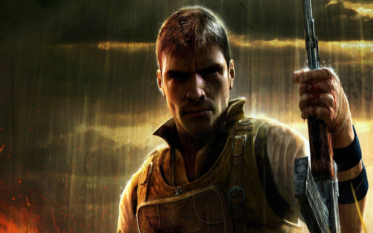 Фото бесплатно солдат, бронижилет, автомат, дождь, огонь, тучи, игры