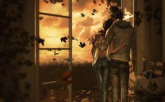 Бесплатные фото осень,парень,девушка,любовь,настроение