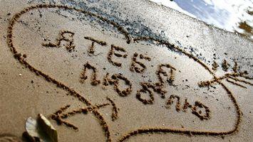 Бесплатные фото берег,песок,мокрый,рисунок,аннотация,сердце,надпись
