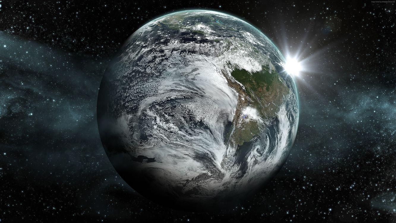 Фото бесплатно планет, Земля, вид из космоса, красивая планета, восход солнца, звезды, космос
