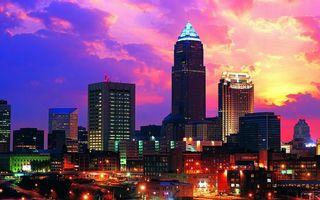 Бесплатные фото вечер,дома,здания,высотки,улицы,фонари,огни