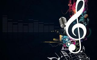 Обои рисунок, скрипичный ключ, ноты, эквалайзер, микрофон, кассета, магнитофон