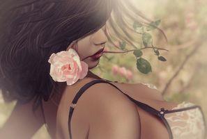 Фото бесплатно девушка, романтика, роза, цветок, купальник, фэнтези, креатив, стиль, причёска, губы