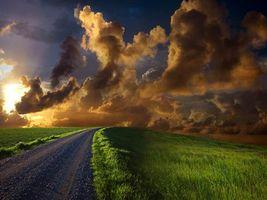 Бесплатные фото поле, трава, дорога, небо, тучи, солнце