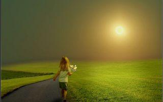 Бесплатные фото дорога,трава,девочка,цветы,небо,солнце