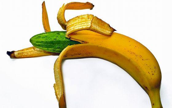 Бесплатные фото банан,кожура,желтая,внутри,огурец,зеленый