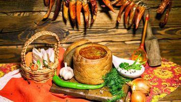 Обои лук, чеснок, хлеб, борщ, сало, укроп, перец, блюда