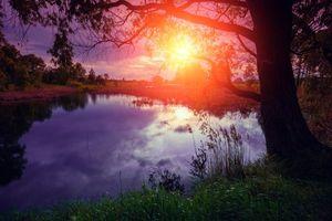 Заставки осень, река, закат