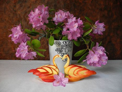 Фото бесплатно цветы, дольки из яблок, натюрморт