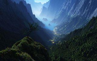 Бесплатные фото горы,скалы,ущелье,растительность,озеро,камни