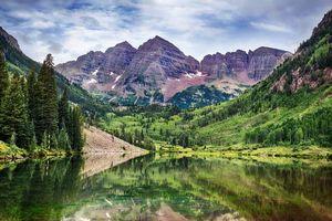 Бесплатные фото Maroon Lake,Colorado,озеро,горы,деревья,пейзаж
