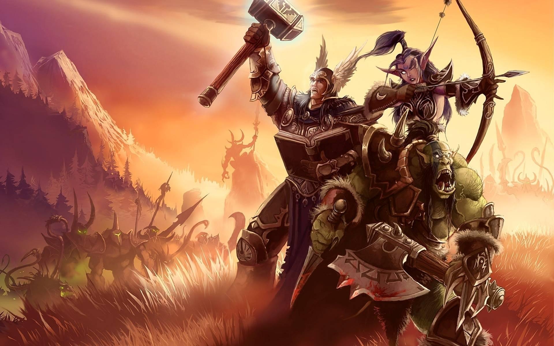 обои world of warcraft, арт, войны, эльф картинки фото