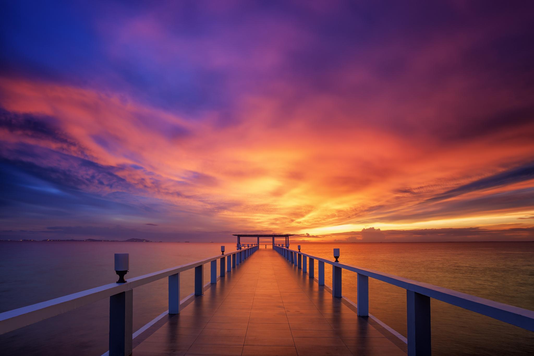 закат солнца, Бангкок, Таиланд