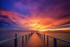 Заставки закат солнца,Бангкок,Таиланд,море,пирс,мост,пейзаж