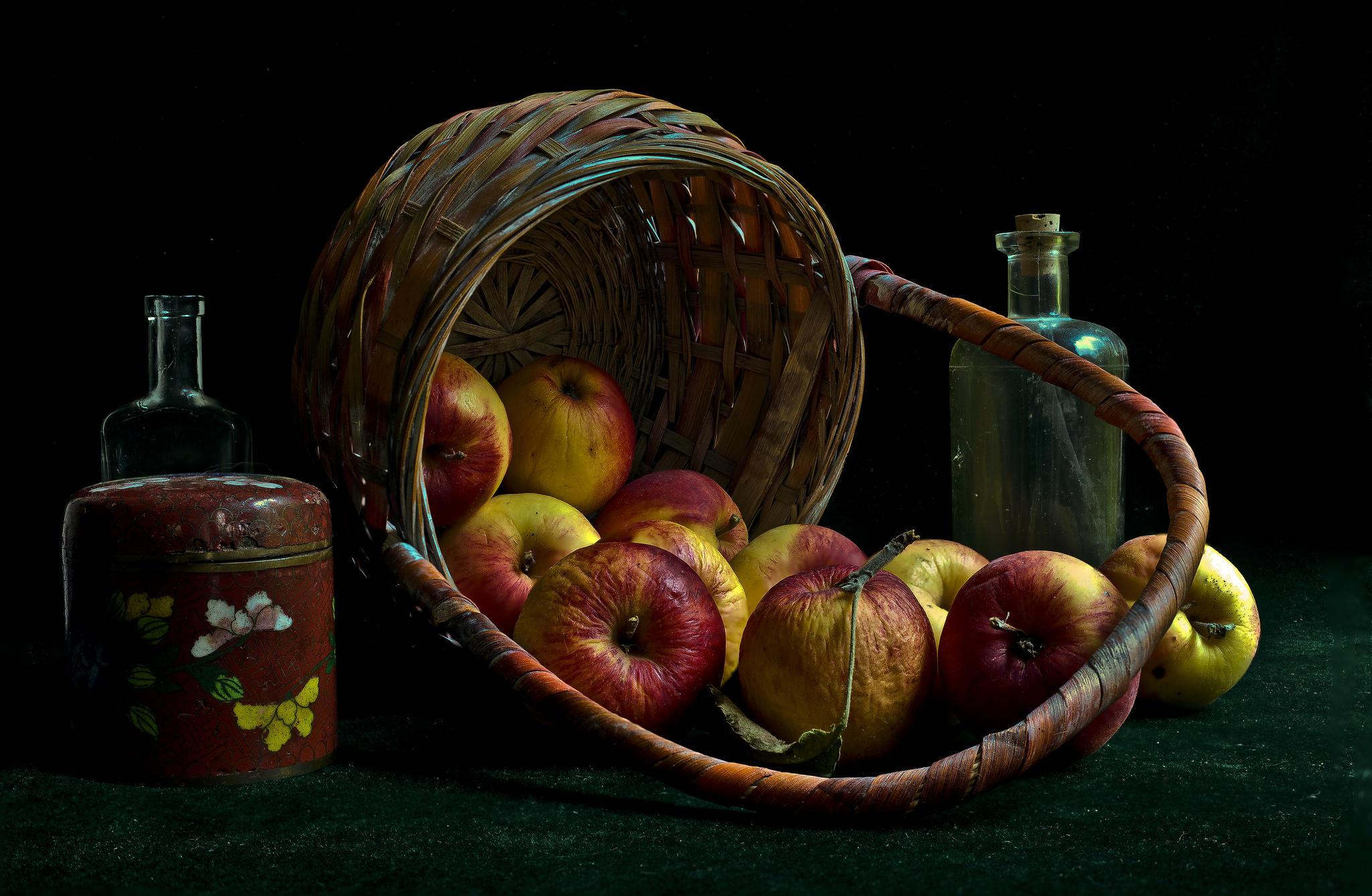 обои корзина, яблоки, фрукты, натюрморт картинки фото