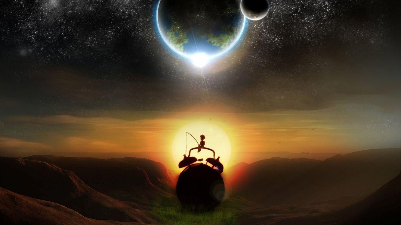 Фото бесплатно будильник, мальчик, удочка, солнце, закат, планеты, фантастика