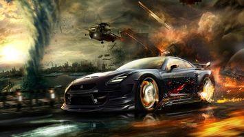 Бесплатные фото гонка,машина,огонь,вертолет,погоня